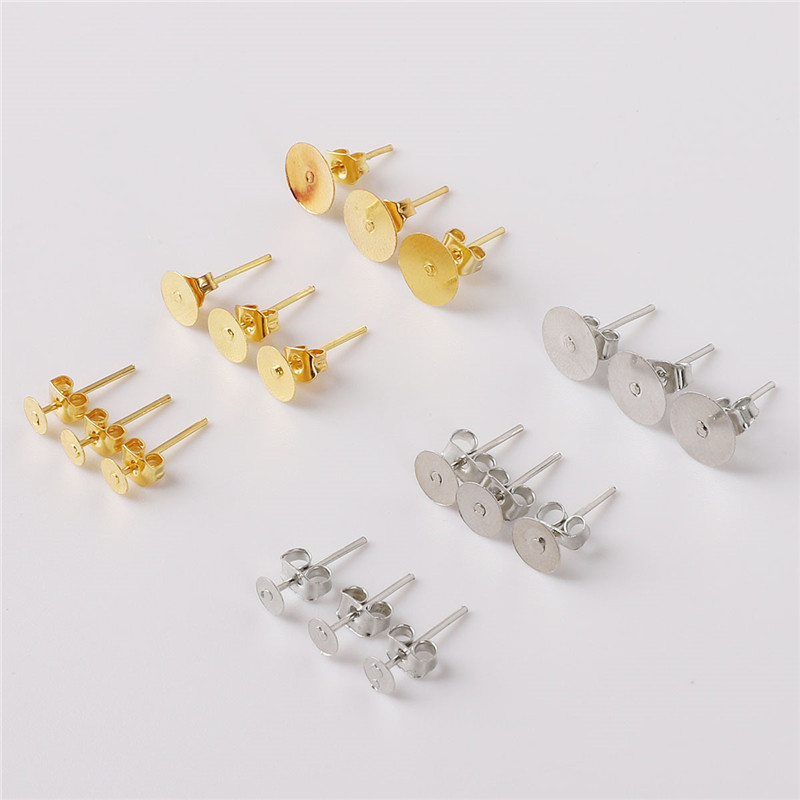Jewelry & Accessories 200pcs 4/6/8mm Gold Silver Round Flat Pad Studs Earrings Posts Base Pins Butterfly Scroll Back Stoppers Diy Jewelry Accessories