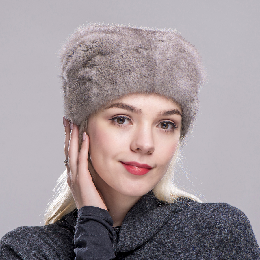 FXFURS Christmas hat mink fur whole skin high quality fur caps with one mink ball hats women winter warm protection ear