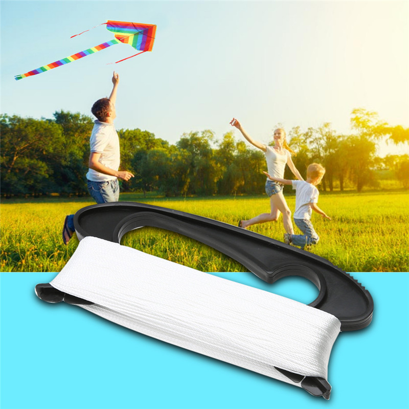 100M White Flying Kite Line Outdoor Sports D Shape Black Line Board Flying Kite Line Flying Tools High Quality Plastic Polyester