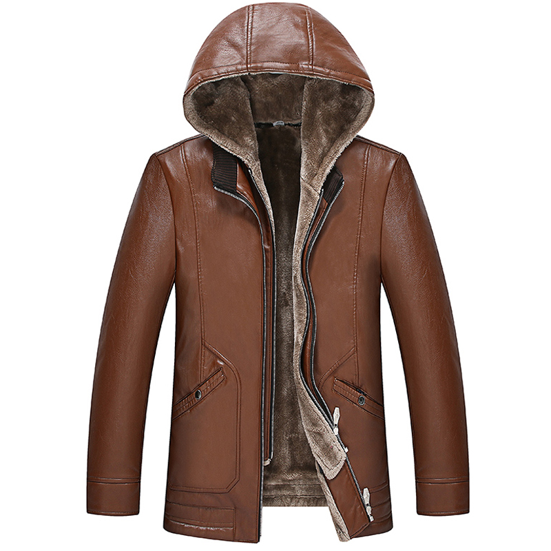 Winter Fall Fashion Men Thick Warm Fleece Black Brown Pu Leather Jacket With Hood , Male Mens 4xl Hooded Patchwork Jackets Coats