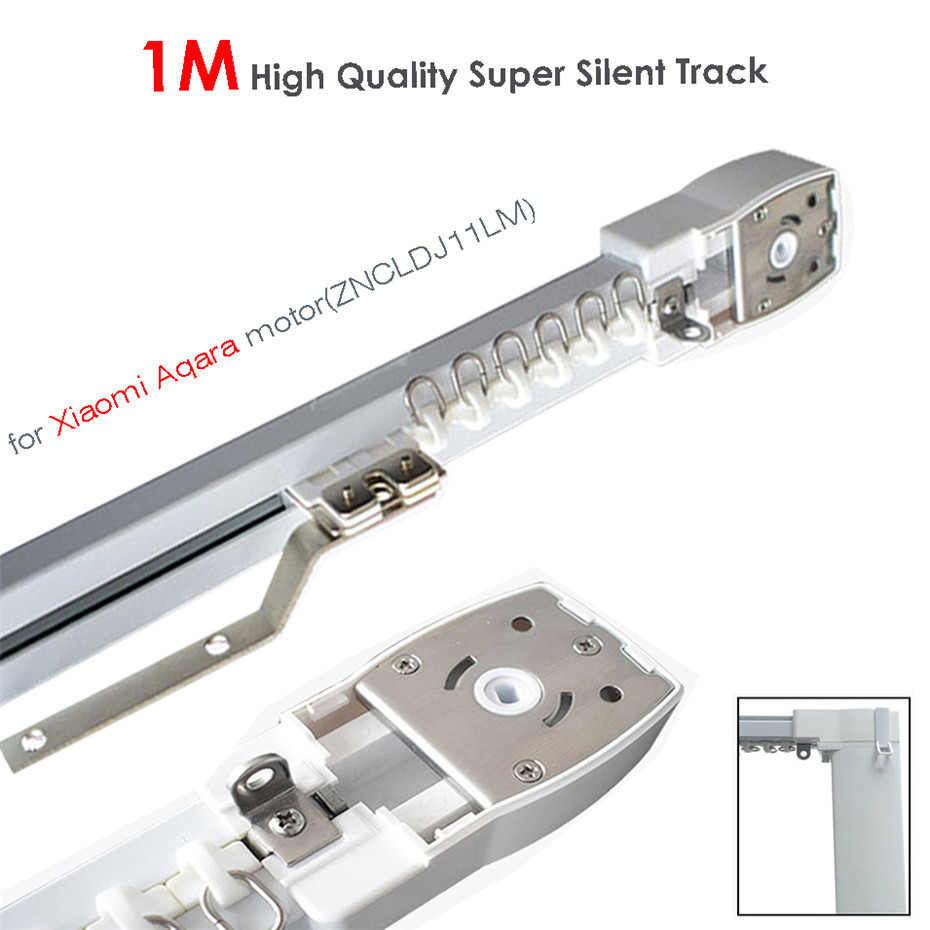 1M Super Silent Electric Curtain Track For Mijia Aqara Motor,Automatic Curtain Rail System,Ceiling Mount,Double Open,MI Home App