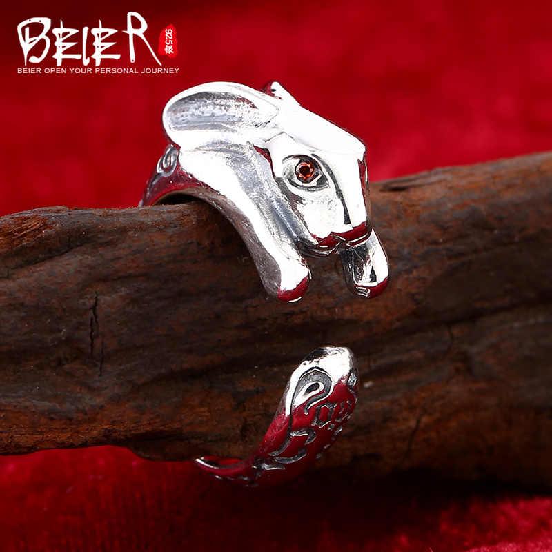 Beier 925 الفضة الاسترليني مجوهرات 2015 لطيف الحيوان الدائري الأحمر عيون الزركون أرنب افتتاح حلقة/كبيرة وصغيرة الحجم d0816