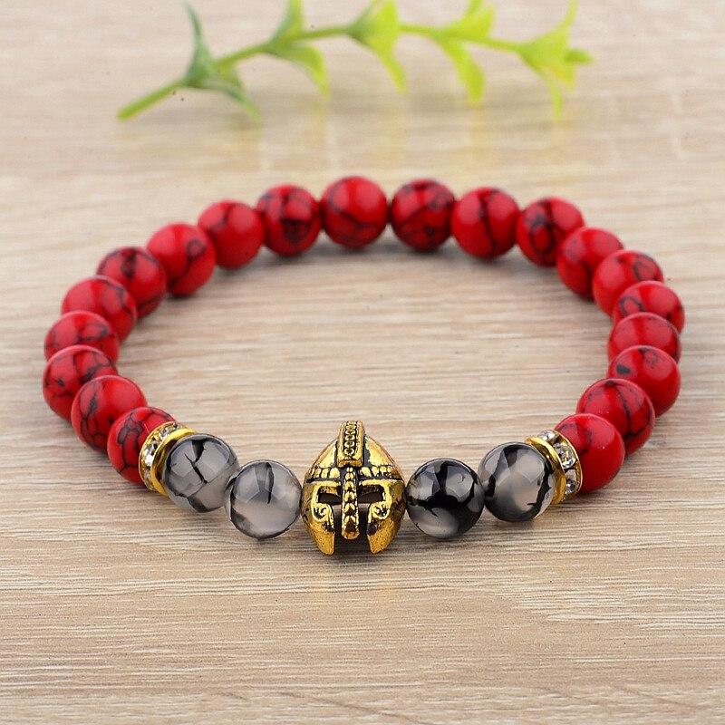 Colorful Top Quality Natural Stone Charm Men Bracelet  Pulseiras Masculinas  Alloy Knight Spartan Warrior Helmet Beads Bracelet men beaded bracelet red