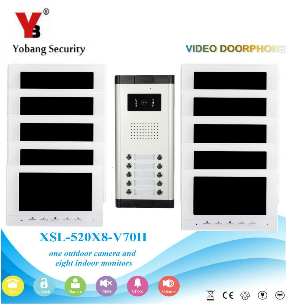 Yobang Security Visual Home Video Intercom 7'Inch Monitor +1000TVL Camera Video Doorbell Unlock Intercom System For 10 Apartment yobang security free ship 7 video doorbell camera video intercom system rainproof video door camera home security tft monitor