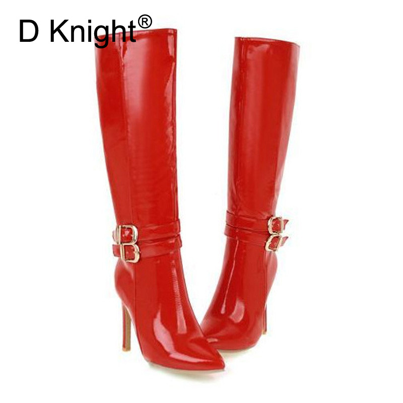 Big Size 33-48 Women Pole Dancing Boots Bright Patent Leather High Heel Knight Boot Sexy Waterproof Side Zip Lady Knee High Boot free shipping sm sexy patent leather queen pole dancing shoes women thigh high boots zapatos mujer boot customize big size 12cm