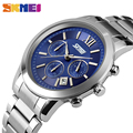 SKMEI 9097 Men Quartz Watch Fashion Casual Watches Stainless Steel Band Stop Watch Stylish Casual clock relojes hombre