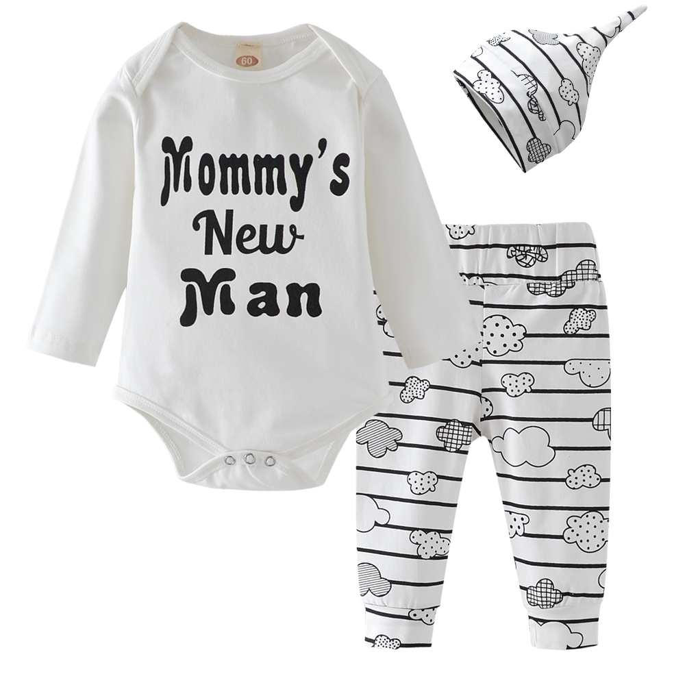 3PCS Baby Boy Clothes Mommy/'s New Man Mustache Print Bodysuit Top Long Pants New