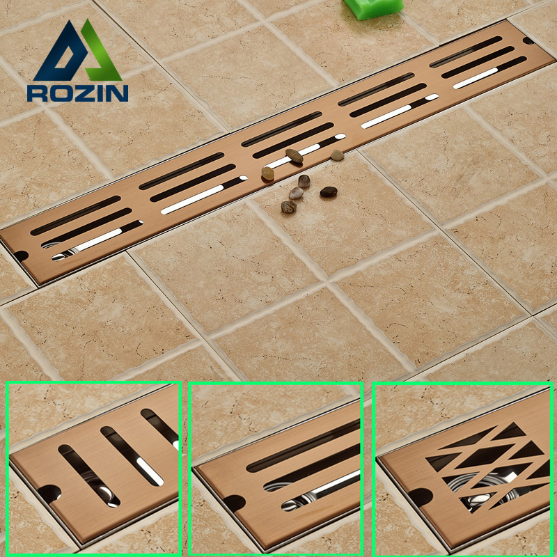 Rose Golden Bathroom Floor Drain 70cm Stainless Steel Linear Long Shower Grate Bathroom Channel Tile Drains mayitr stainless steel linear shower ground floor drain grate mesh sink strainer bathroom tool 900mm