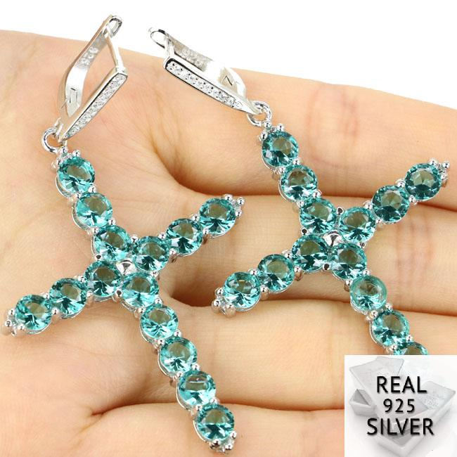 Real 11.0g 925 Solid Sterling Silver Classic Long Cross Rich Blue Aquamarine Womans Earrings 68x38mmReal 11.0g 925 Solid Sterling Silver Classic Long Cross Rich Blue Aquamarine Womans Earrings 68x38mm