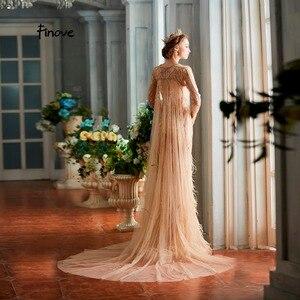 Image 3 - Finove vestidos de noche para mujer, novedad de 2020, elegantes vestidos de sirena champán de lujo con plumas y abalorios, longitud hasta el suelo, vestidos de fiesta para mujer