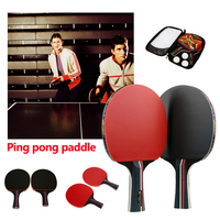 Ping Pong Bat Sports Ping Pong Racket Table Tennis Bat Sturdy Rubber Black Red Table Tennis Table Paddler Log for HeeSon