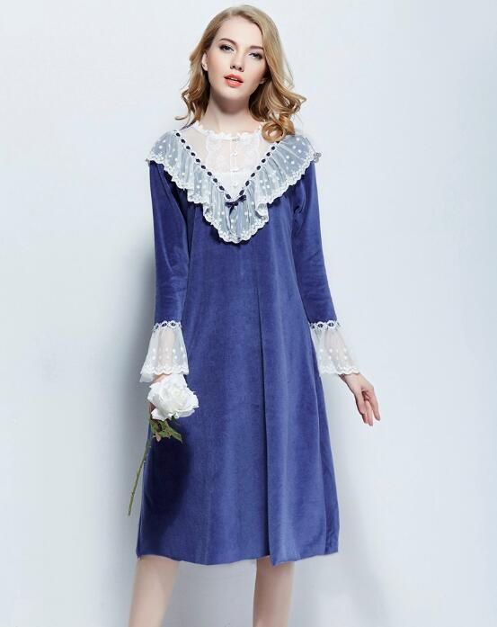 c2a357bcef Detail Feedback Questions about Free Shipping Princess Nightdress Royal  Blue Nightgown Women s Long Sleepwear Lace New Winter Nightshirt on  Aliexpress.com ...