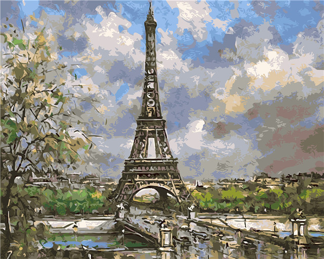 Spring Paris Eiffel Tower paintings by hand no frame home ... Eiffel Tower Painting Landscape