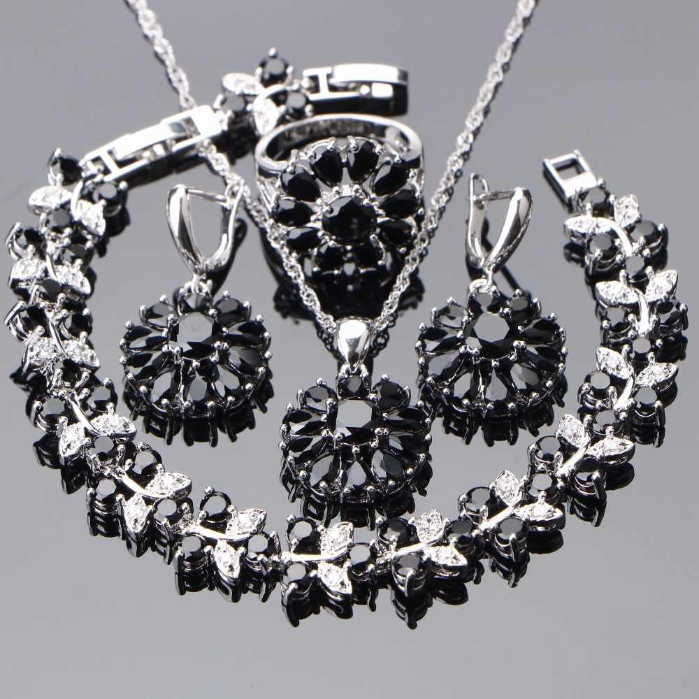 925 Sterling Silver ślubne zestawy biżuterii cyrkonu czarne kamienie kolczyki dla kobiet naszyjnik wisiorek pierścionki bransoletka zestaw pudełko