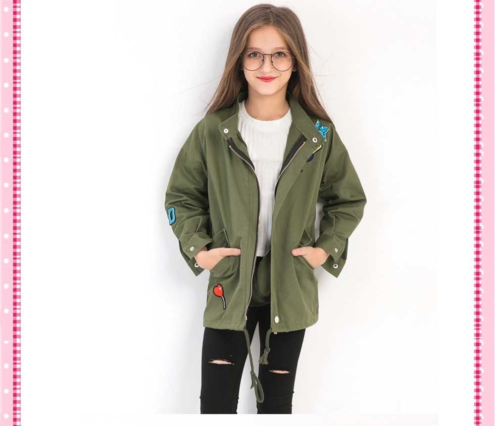 cc3fc159 Kids Girl Long Trench Coat Girls Casual Windbreaker Jacket Wholesale Lots  Bulk Clothes Toddler Outerwear Children Teen Coat