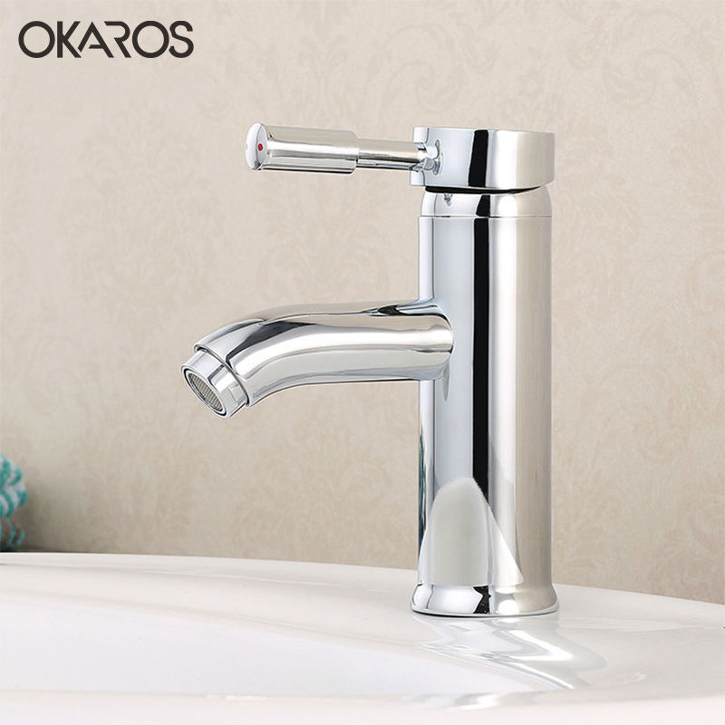 Okaros Chrome Bathroom Basin Faucet Deck Mounted Hot And Cold Water Vanity Sink Tap Mixer Single