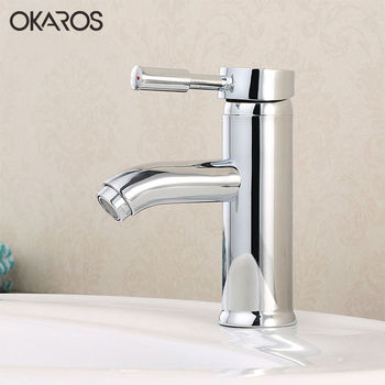 OKAROS Chrome Bathroom Basin Faucet Deck Mounted Hot And Cold Water Vanity Sink Tap Mixer Single Hole Single Handle Torneira