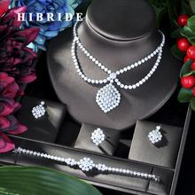 HIBRIDE luksusowe geometria afryki naszyjnik zestaw kolczyków ślubne zestaw biżuterii dla kobiet cyrkon CZ zestaw biżuterii ślubnej N-45 tanie tanio Moda Zestawy biżuterii Miedzi Naszyjnik kolczyki pierścień bransoletka TRENDY Kobiety Cyrkonia Ślub 1 pcs Necklace+1 pair Earring+1 pcs Bracelet+1 pcs Ring
