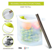 1pc Reusable Ziplock Vacuum Storage Bag Silicone Food Freezer Fresh Preservation