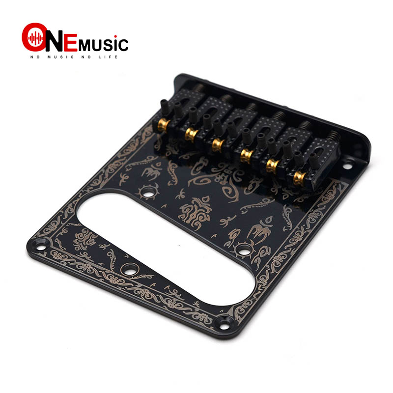 Black 6 Saddle Guitar Pickup Bridge With 6 Vintage String Guides for TL Electric Guitar Parts Guitar Parts & Accessories  - AliExpress