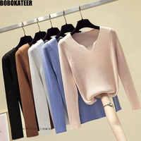 BOBOKATEER Herbst Pullover Frauen Tops Weiß v-ausschnitt Dünne Gestrickte Pullover Schwarz Winter Kleidung Frauen Pullover Pull Femme Trui 2019