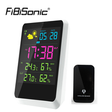 Buy online Desktop Colorful LED Display In/outdoor Temperature Instruments Wireless Weather Station Alarm Clock Digital Display Thermometer