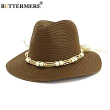 BUTERMERE Ladies Sun Hats For Women Summer Panama Straw Famale Coffee String Bowknot 7cm Brim Weave Hat Bohemian Beach