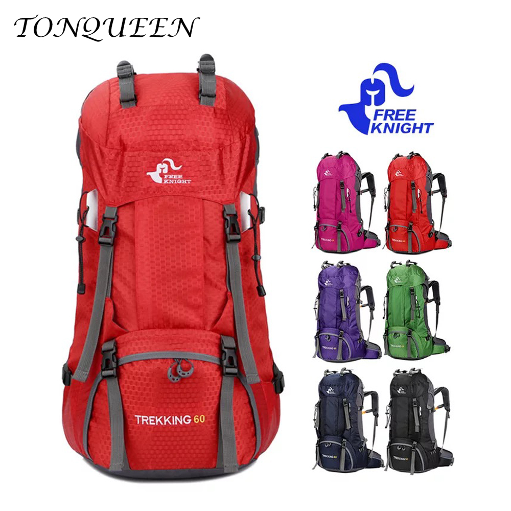60L Outdoor Backpack Camping Waterproof Hiking Large Travel Backpack with Rain Cover Sport Bag Backpacks with Rain Cover WX120 60l external frame climbing bag waterproof polyester material unisex travel backpack for camping hiking outdoor with rain cover