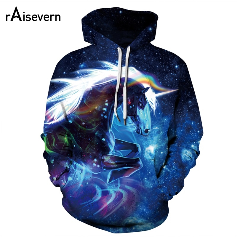 Raisevern Cute Rainbow Unicorn 3D Hoodies Galaxy Unicorn Prints Hooded Sweatshirt Cool Hoodie Pullovers For Women Men Dropship