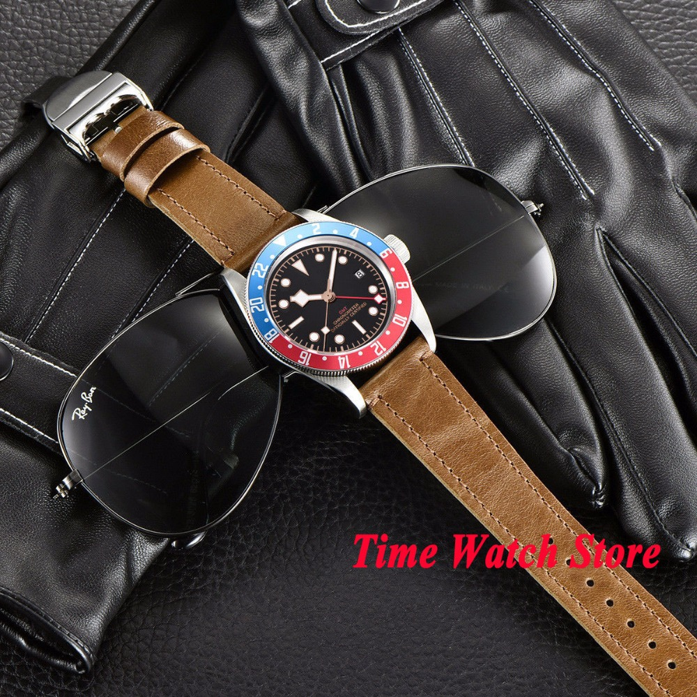 41mm Corgeut GMT automatic wrist watch men sapphire glass waterproof black strile dial luminous blue red Bezel leather strap - 6