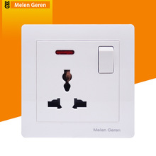 13A Wall Power Socket Electrical Panel Outlet with One Push Button Switch with Light Switch Indicator Energy Saving 110-250V st0419 push button switch with green indicator vehicle diy