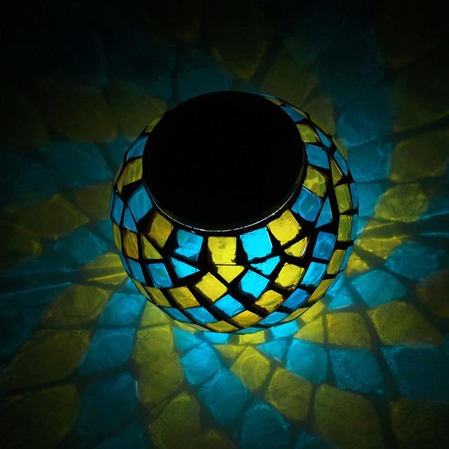 Bola De Vidro QUENTE Mosaico Movido a energia solar Luzes Do Jardim, Candeeiros De Mesa Mudando A Cor Solar, Luzes Ao Ar Livre Solar para Festas decorações