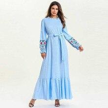 b20fdfb097 ANTIME hermoso vestido de manga larga faja O luz azul cuello casuales de  primavera y verano las mujeres elegante Maxi volantes p.