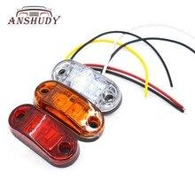 ANSHUDY Truck Car Light Side Lamp12V Largura Aviso Anti-cauda LEVOU Sinal de Volta Luz de Alta Qualidade Contas de Luz Piranha
