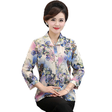 Chinese Style Woman Elegant Shirts Flower Print Three Quarter Sleeve Top Female Turn Down Collar Blouse Middle Aged Women