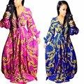 Digital impreso fashion dress de alta calidad tradicional africano dashiki imprimir vestidos largos maxi vestidos de primavera vestidos de renda
