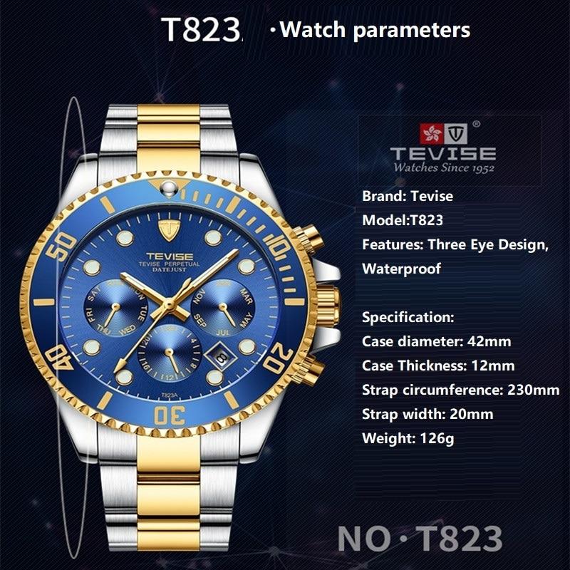 Quartz Wristwatches TEVISE Men Watch T823S Week Date Luminous Wristwatch Mens Rotating Ring Clock Male Waterproof With Fix Tool (4)