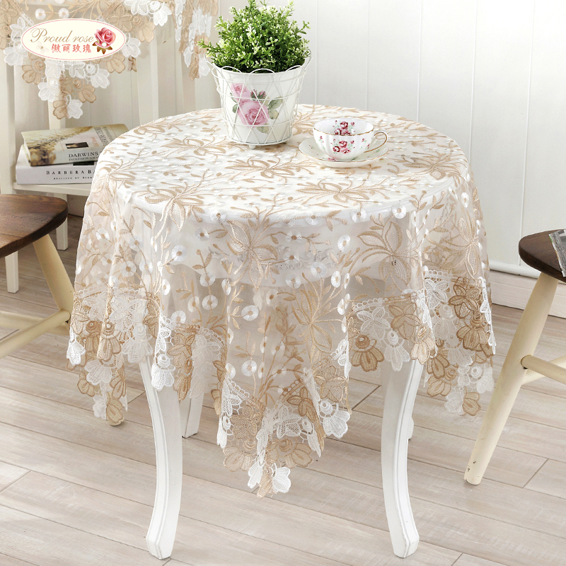 Proud Rose European Elegant Lace Embroidered Table Cloth Glass Yarn Tea Table  Cloth Round Tablecloth Modern Table Runner In Tablecloths From Home U0026  Garden ...