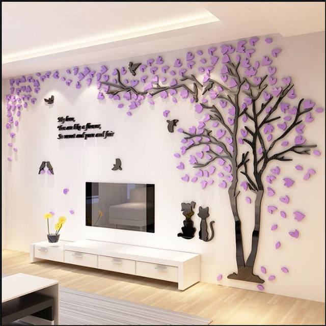 Fashion romantic tree 3D three dimensional wall stickers wall ...