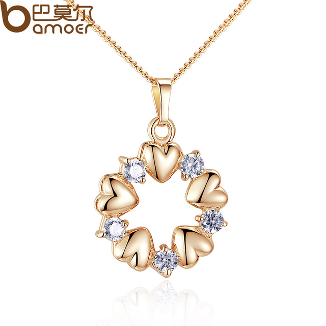 BAMOER Luxury Gold Color Heart Necklaces & Pendants with AAA Zircon For Women An