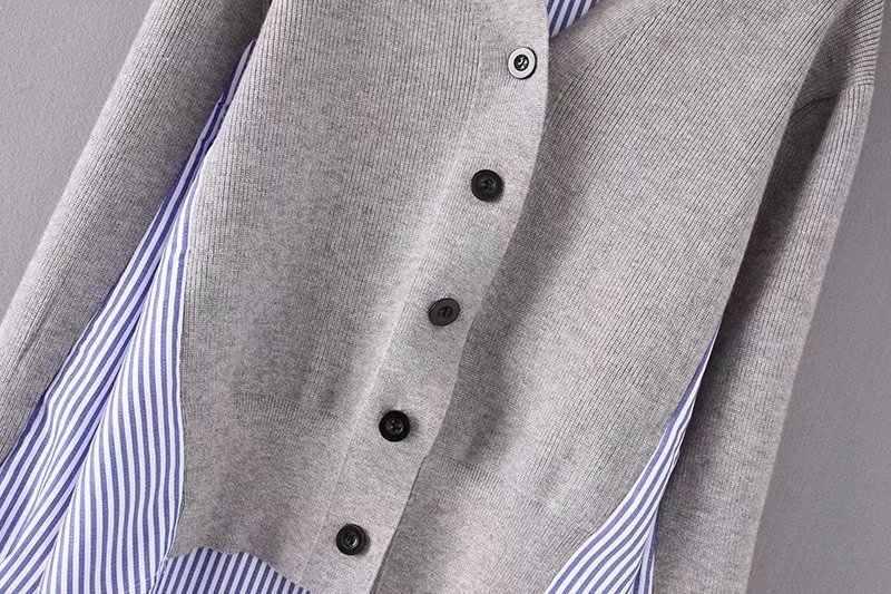 [EWQ] 2019 春夏新作ファッション女性トップス長袖スプライスさストライプフェイク二個 V ネックブラウスシャツ s077