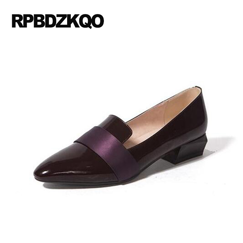 Purple Cowhide Low Heel Pink Flats Patent Leather Pointed Toe Designer Shoes Women Luxury 2017 Genuine Real Loafers Office Slip spring summer women leather flat shoes 2017 sweet bowtie flats women shoes pointed toe slip on ladies shoes low heel shoes pink