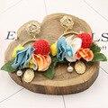 Moda coreano bola de lã barroco flor brincos pendurados para as mulheres praia bohemian jóias lemon anjo brincos de pingente de pérola
