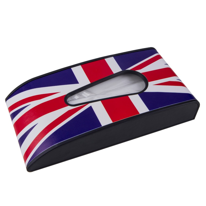 Union Jack Printed Block Car Tissue Box Dashboard Armrest Tissue Container Box Hanging Paper Towel Cover Case Universal