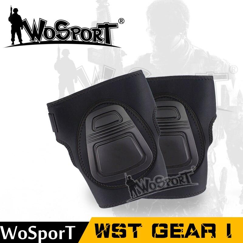 WoSporT тактический Спорт Защитное Снаряжение комплект Airsoft Регулируемый наколенники комплект Охота Стрельба Пейнтбол мотоцикл SAFTY колодки