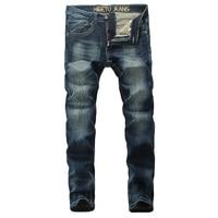 2017 Newly Fashion Street Men Jeans Dark Blue Color Stretch Jeans Slim Fit High Quality Skinny
