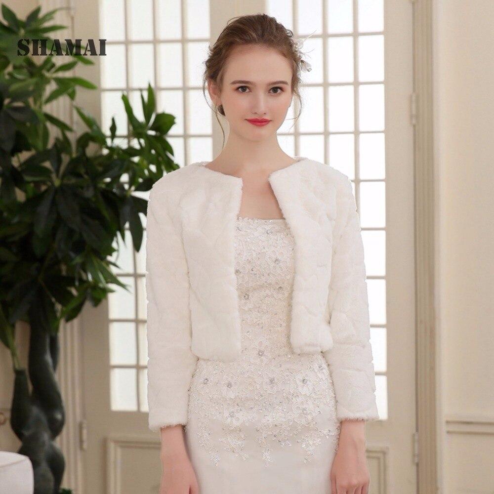 7ceb1c48c38 SHAMAI Fur Shawl Wedding Wrap Women Winter 3/4 Length Sleeves Bridal Wraps  Warm Fur