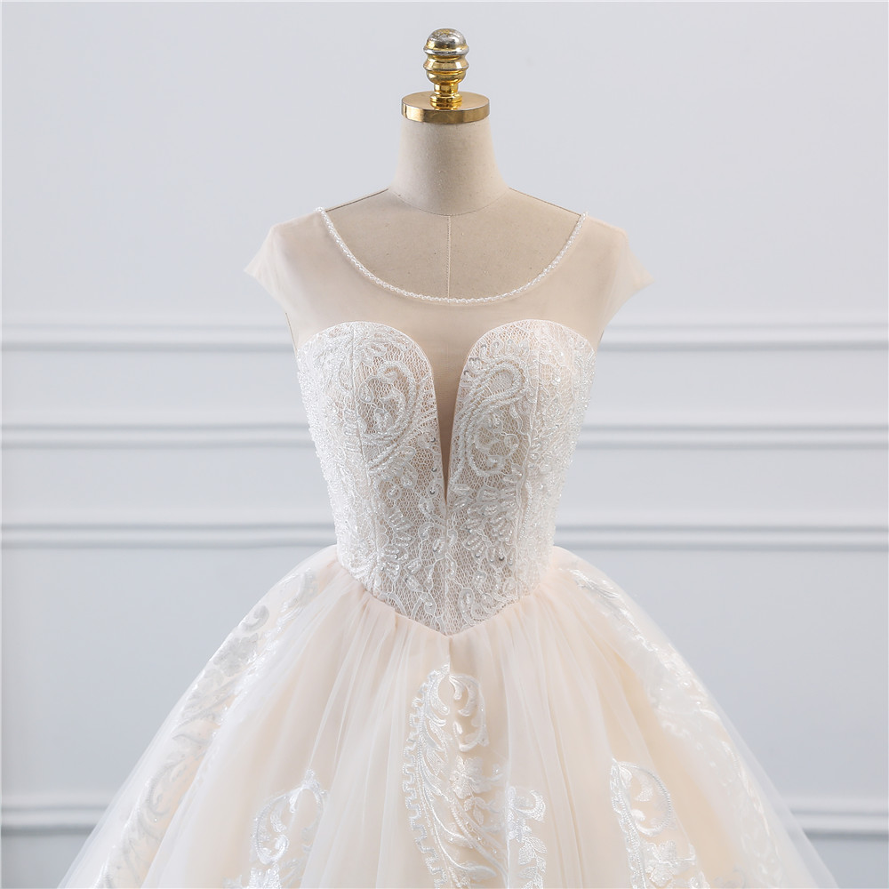 Image 4 - Fansmile Illusion Vintage Princess Ball Gown Tulle Wedding Dresses 2019 Quality Lace Plus size Wedding Bride Dresses FSM 520F-in Wedding Dresses from Weddings & Events