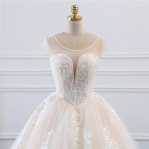 Image 4 - Fansmile Illusion Vintage Princess Ball Gown Tulle Wedding Dresses 2020 Quality Lace Plus size Wedding Bride Dresses FSM 520F