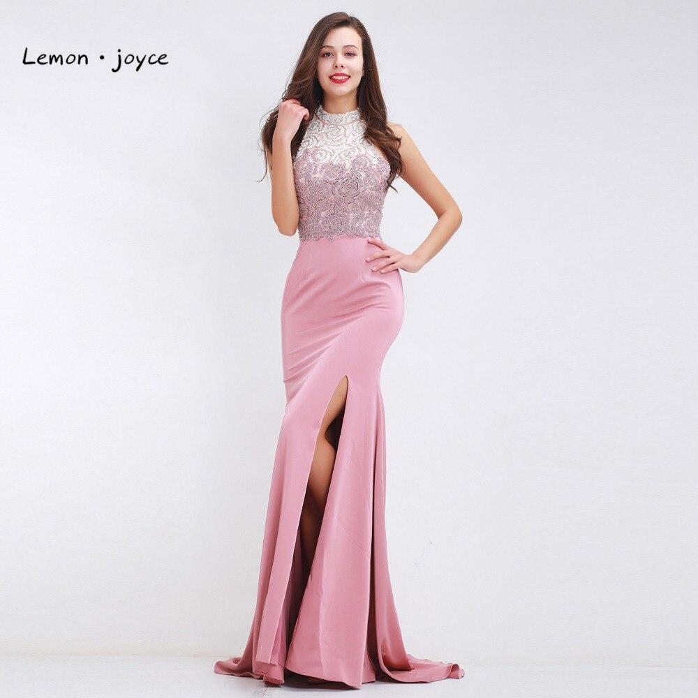 Luxury Pink Evening Dresses Long For Women Girls Sleeveless Backless High Slit Elegant Prom Dresses Party Gowns Vestido De Noiva